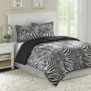 Madagascar Bright Zebra Microfiber Down Alternative Comforter Mini Set