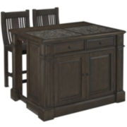 Barnsley Granite-Top Kitchen Island with 2 Barstools