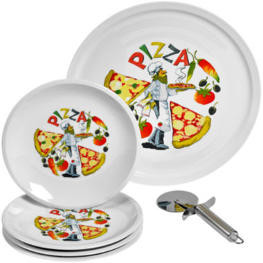 jcpenney.com | Tabletops Gallery® 6-pc. Ceramic Pizza Serving Set