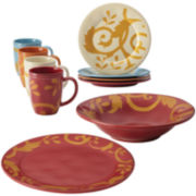 Rachael Ray® Gold Scroll Red Assorted 10-pc. Serving Set