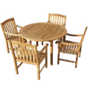 Fanning 5-pc. Outdoor Teak Dining Set