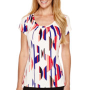 Worthington® Short-Sleeve Print Scoopneck Top