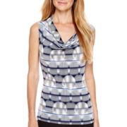 Worthington® Sleeveless Printed Cowlneck Top