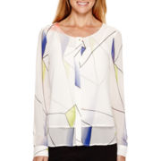 Worthington® Long-Sleeve Layered Blouse - Tall