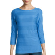 St. John's Bay® 3/4-Sleeve Textured Boatneck Top