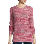 St. John's Bay® Long-Sleeve Marled Scoopneck Sweater- Petite