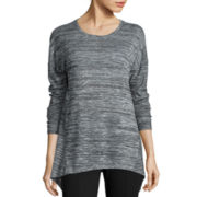 Stylus™ Long-Sleeve Sharkbite Textured Knit Top