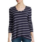 Stylus™ Long-Sleeve Asymmetrical Stripe T-Shirt