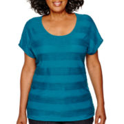 St. John's Bay® Short-Sleeve Jacquard Stripe Dolman Knit Top - Plus