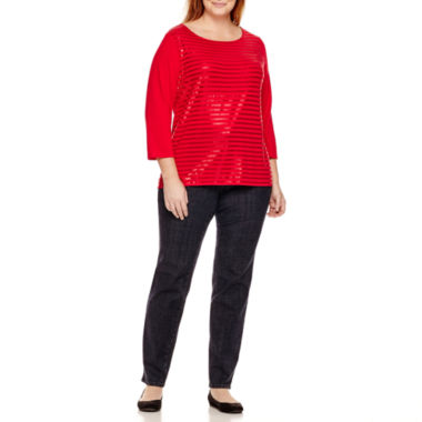 jcpenney.com | Liz Claiborne® Sequin Striped T-Shirt or Slim-Leg Jeans - Plus