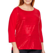 Liz Claiborne® 3/4-Sleeve Sequin Striped T-Shirt - Plus