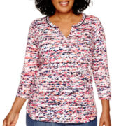 Liz Claiborne® 3/4-Sleeve V-Neck Top - Plus
