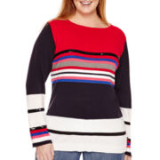 Liz Claiborne® Long-Sleeve High-Low Striped Sequin Sweater - Plus