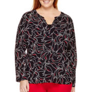 Liz Claiborne® Long-Sleeve V-Neck Tunic - Plus