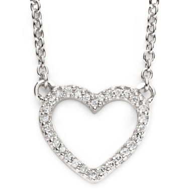jcpenney.com | 1/10 Ct. T.W. Diamond Sterling Silver Mini Heart Pendant Necklace