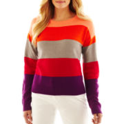 Liz Claiborne Long-Sleeve Striped Crewneck Sweater - Talls