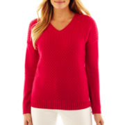 Liz Claiborne Long-Sleeve V-Neck Cable Knit Sweater - Talls
