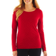 Liz Claiborne Long-Sleeve Dot Print Tee