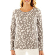 Liz Claiborne Long-Sleeve Leopard Sweatshirt