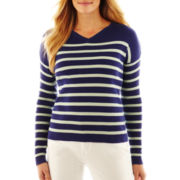 Liz Claiborne Long-Sleeve V-Neck Striped Sweater