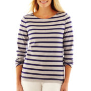 Liz Claiborne Long-Sleeve Striped High-Low Tee