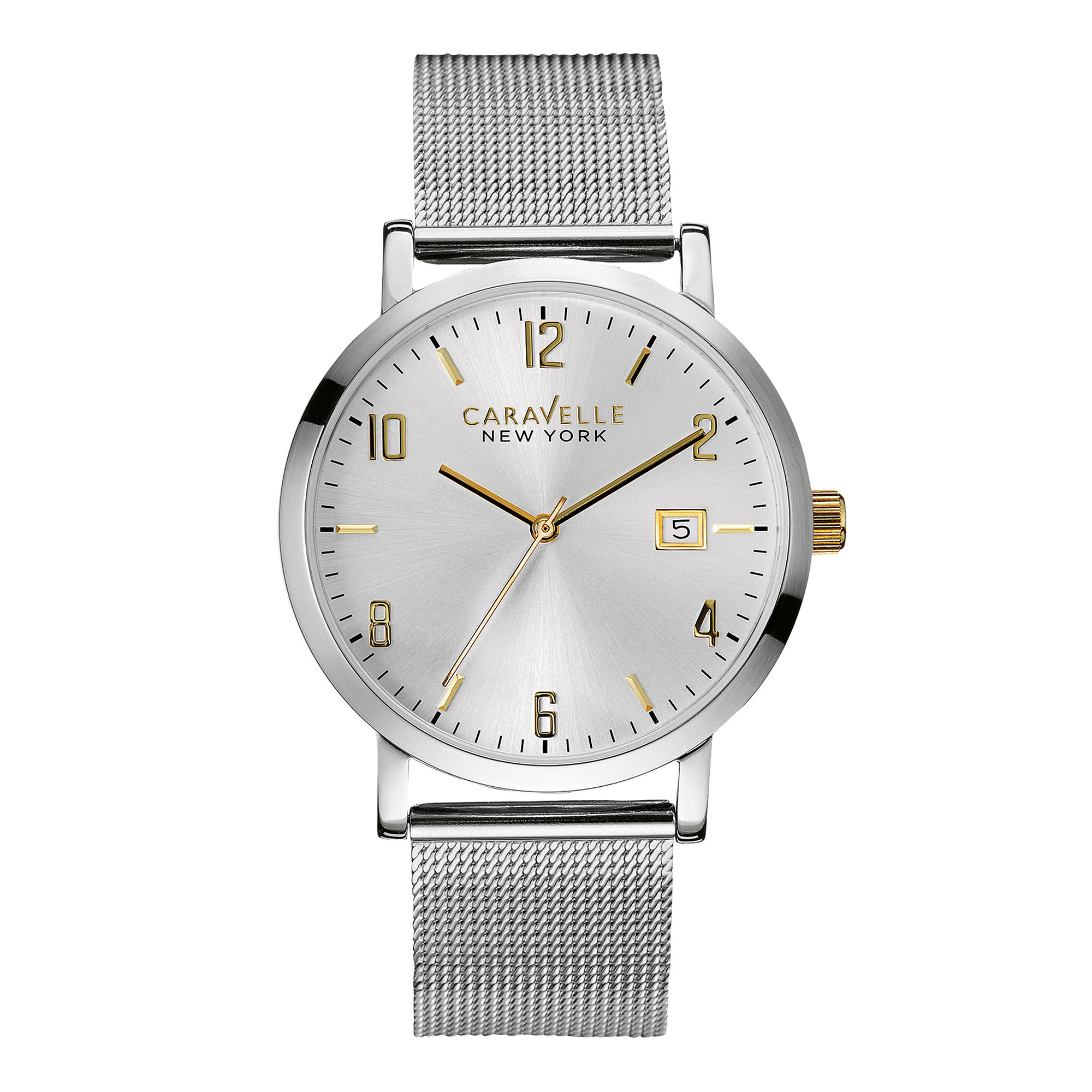 Caravelle New York Mens Stainless Steel Mesh Watch 45B128