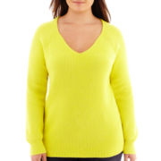jcp™ Long-Sleeve V-Neck Shaker Sweater - Plus