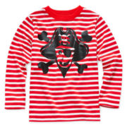 Okie Dokie® Long-Sleeve Striped Graphic Knit Tee – Boys 2t-6