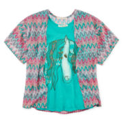 Self Esteem® Kimono with Graphic Tank Top - Girls 7-16 and Plus