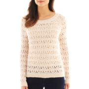 i jeans by Buffalo Long-Sleeve Open-Stitch Metallic Shimmer Sweater