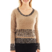 i jeans by Buffalo Long-Sleeve Sequin Colorblock Sweater