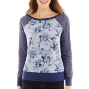 St. John's Bay® Long-Sleeve Floral Print Sweatshirt