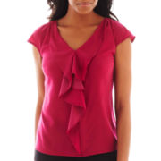 Worthington® Short-Sleeve Ruffle-Front Blouse