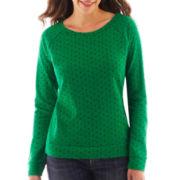 Liz Claiborne Long-Sleeve Dot Sweatshirt