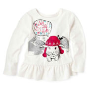 Arizona Long-Sleeve Knit Peplum Top - Girls 2t-6