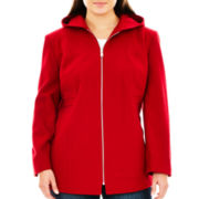 Avanti Zip-Front Hooded Wool-Blend Coat - Plus