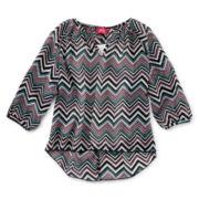 Pinky Chiffon 3/4-Sleeve Shirt - Girls 7-16