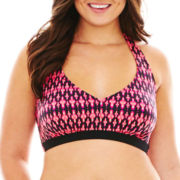 a.n.a® Zigzag Print Halter Bra Swim Top - Plus