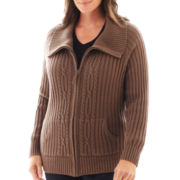 St. John's Bay® Long-Sleeve Ribbed Cable Zip Cardigan - Plus