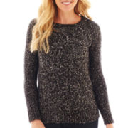 St. John's Bay® Long-Sleeve Marled Cable Crewneck Sweater