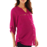 Maternity Roll-Tab Button-Front Shirt - Plus