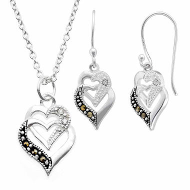 jcpenney.com | Sparkle Allure Le Vieux 2-pc. Marcasite Silver Over Brass Jewelry Set