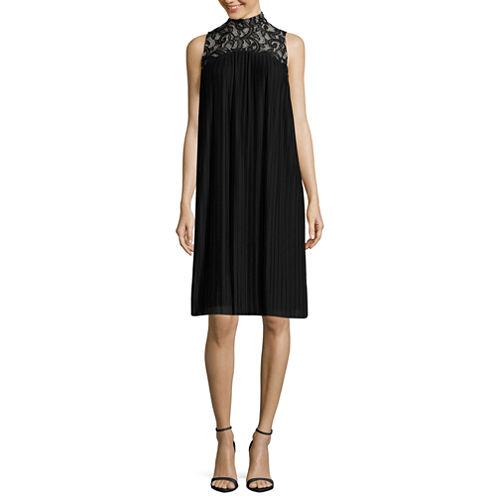 London Times Sleeveless Lace Mock Neck Shift Dress