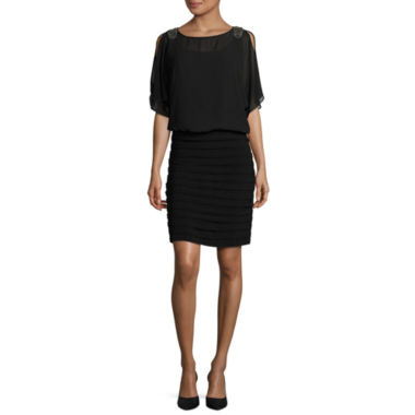 jcpenney.com | R & M Richards Elbow Sleeve Embellished Blouson Dress-Talls