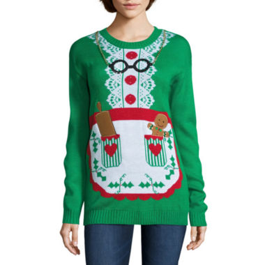 jcpenney.com | Tiara Mrs. Clause Apron Crew Neck Sweater