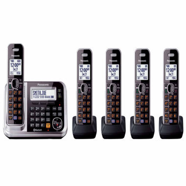 jcpenney.com | Panasonic KX-TG7875S Link2Cell DECT 6.0 Bluetooth Cordless Phone w/ 5 Handsets & Answering Machine - Silver