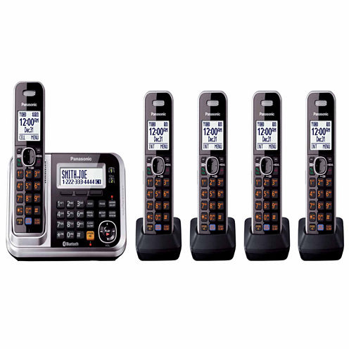 Panasonic KX-TG7875S Link2Cell DECT 6.0 Bluetooth Cordless Phone w/ 5 Handsets & Answering Machine - Silver