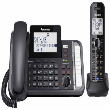 jcpenney.com | Panasonic KX-TG9581B Link2Cell DECT 6.0 2-Line Corded Phone with Cordless Handset - Black