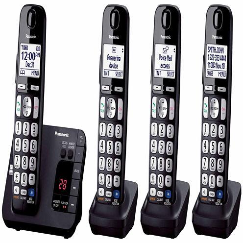 Panasonic KX-TGE234B Expandable Digital Cordless Answering System with 4 Handsets - Black