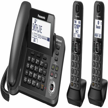 jcpenney.com | Panasonic KX-TGF382M Link2Cell DECT 6.0 Bluetooth Corded Phone with 2 Cordless Handsets & Answering Machine - Metallic Black